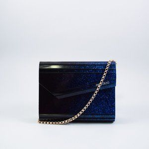JIMMY CHOO BLACK/BLUE CANDY BOX CLUTCH